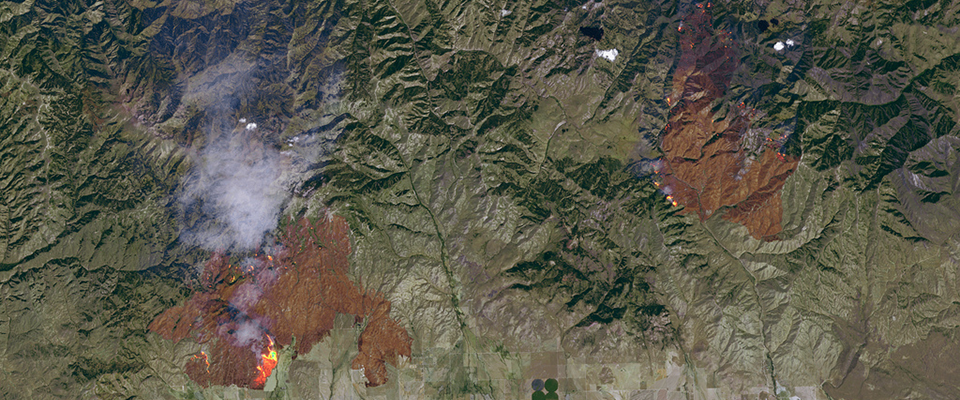 satellite view of fires over idaho